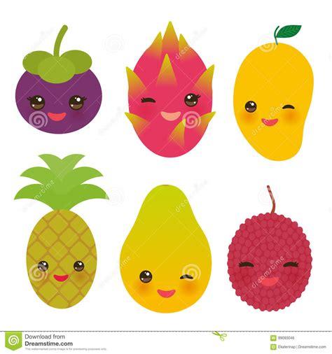 emoji  exotic fruits vector set cartoondealercom