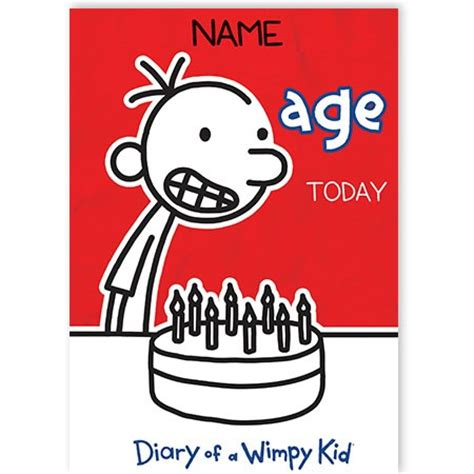 printable diary of a wimpy kid birthday card grandson birthday quickclickcards