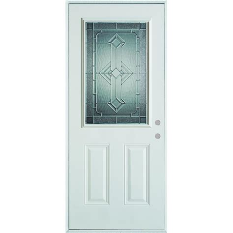 Stanley Exterior Door Stanley Doors 36 In X 80 In Neo Deco Zinc 1 2 Lite 2 Panel Painted White Steel Prehung Front