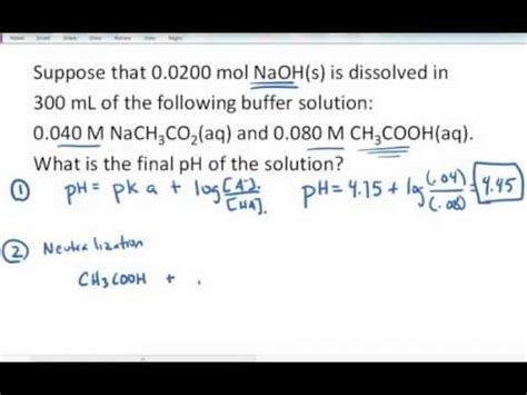 calculate ph of buffer after adding strong base. youtube
