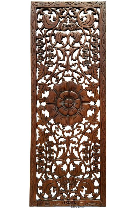 floral wood carved wall panel rustic home decor carving wood plaque asiana home decor