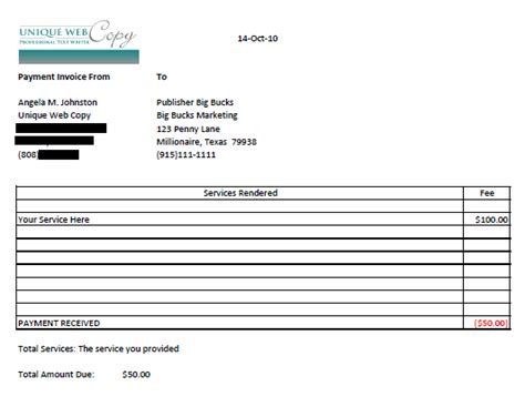 writing invoice template october 2010 freelance writing tips