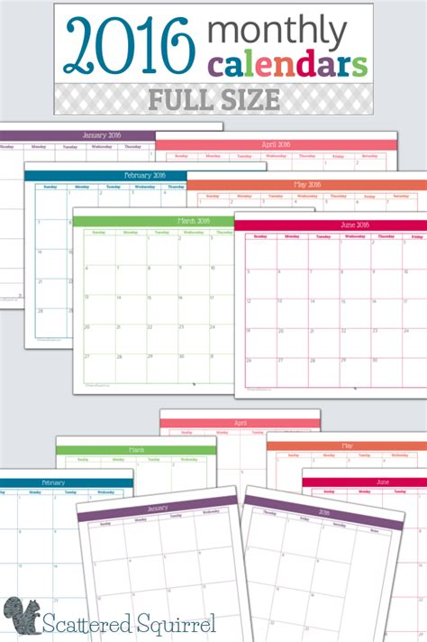printable planner calendar 2016 2016 monthly calendar printables full size edition