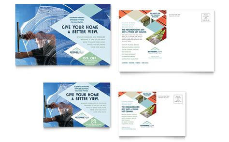 Window Cleaning Pressure Washing Postcard Template Design Pressure Washing Template