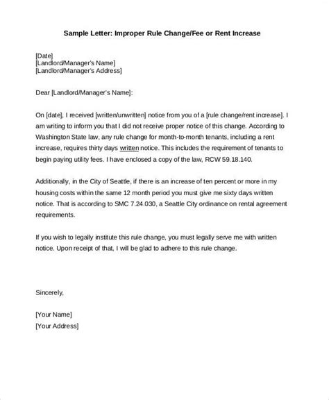 Rental Letter For Welfare rent increase notice 20 day rent increase letter sle