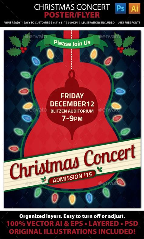 templates for concert posters christmas concert music event flyer or poster event