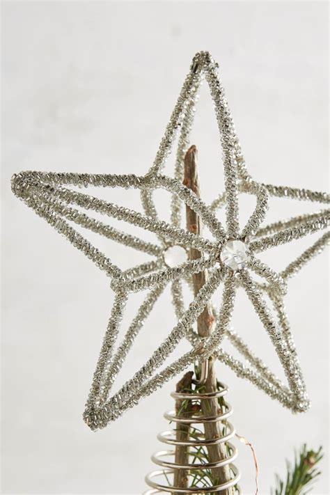 beaded tinsel star tree topper anthropologie