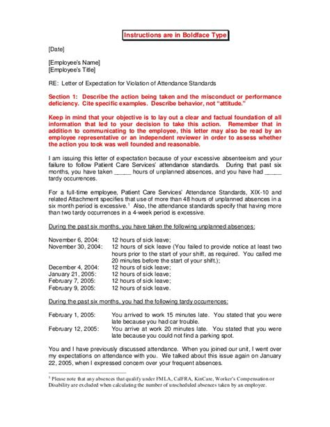 Letter Of Expectation Template letter of expectation