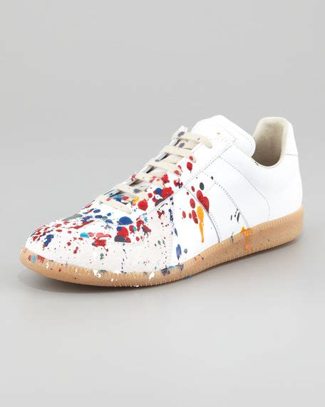 paint splatter sneakers maison martin margiela paint splatter sneaker white