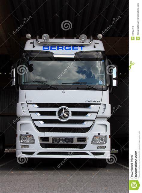 mercedes truck white white mercedes benz actros truck editorial stock photo