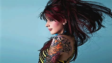 woman with tattoos tattooed wallpaper
