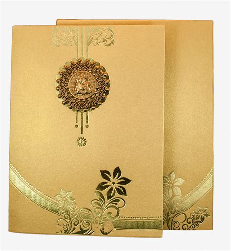 indian wedding cards hindu wedding card in golden with floral design ganesha