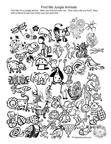 printable coloring pages of animals in the jungle things