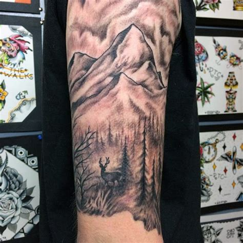 quarter sleeve mountain tattoo upper arm half sleeve mens deer and mountain tattoos