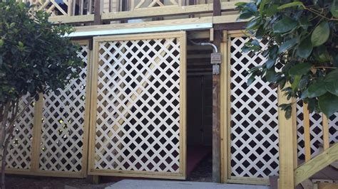 take a look at this sliding lattice door for deck