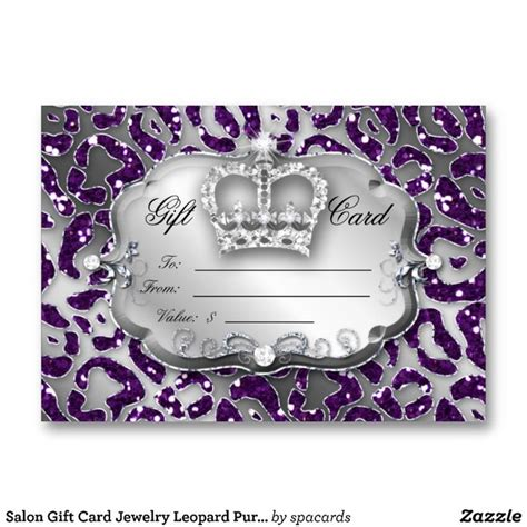 Crown Gift Cards - salon gift card jewelry leopard purple crown business card templates salon spa