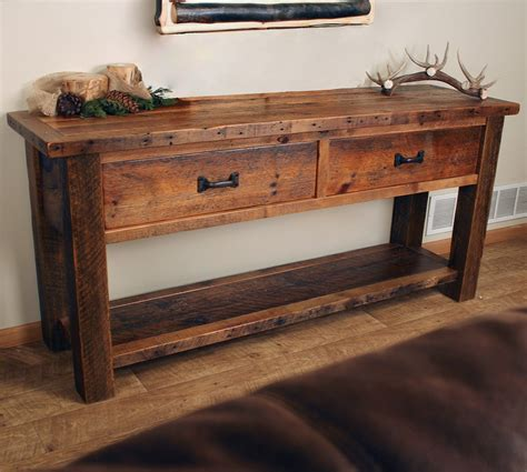 Sawmill Timber Frame Sofa Table With Drawers