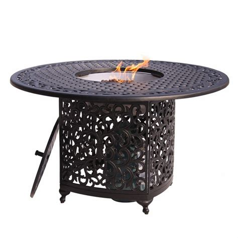 propane patio pit table meadow decor kingston 48 inch aluminum patio dining table with propane pit
