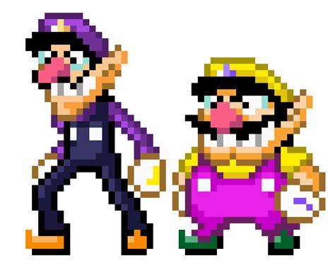 famous characters in pixel art mario and luigi wario and waluigi mario world style by xyrau on deviantart