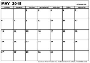 Printable Calendar October 2018 May 2018 Calendar Calendar Printable Free