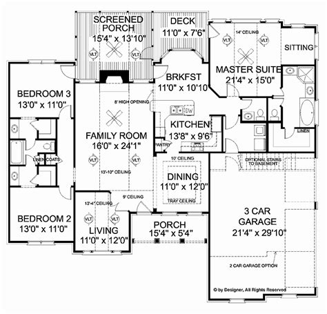 square feet of 3 car garage 2000 sq ft house plans with 3 car garage