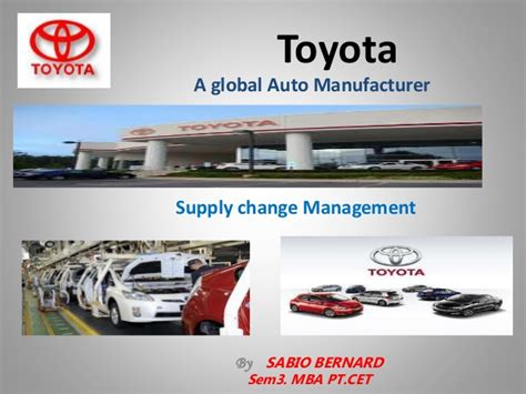 Mba Automobile Management by Supply Chain Management Of Toyota Study By