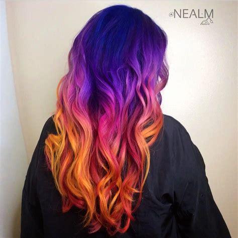 sunset hair color mermaid hair sunset hair purple hair orange hair rainbow