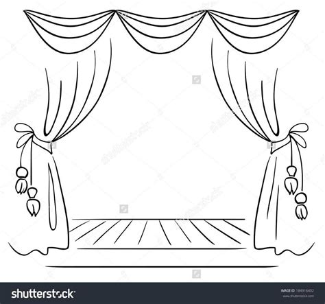 drawn curtains drawn curtain stage background pencil and in color drawn