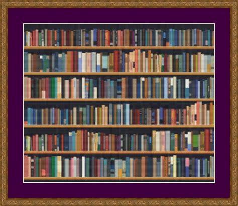 bookshelf cross stitch