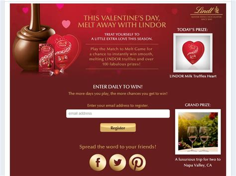 Valentine S Day Sweepstakes - lindt chocolate melt away this valentine s day sweepstakes sweepstakes fanatics