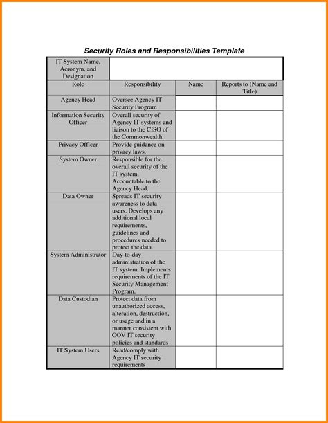 6 job responsibility template ledger paper