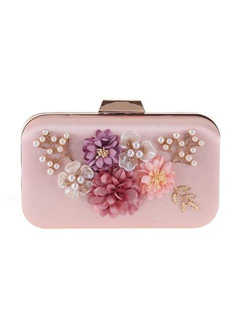 pearls beading floral clutch bag fashionmia