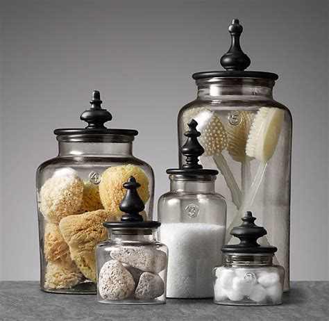 bathroom apothecary jar ideas turned finial glass jar collection restoration hardware