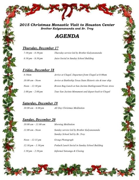christmas agenda template special announcement monastic visit weekend agenda