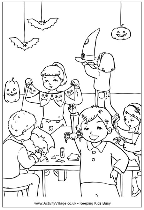 halloween decorations colouring page