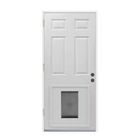 Exterior Door With Pet Door Installed 6 Panel Primed White Steel Entry Door With Large Pet Door