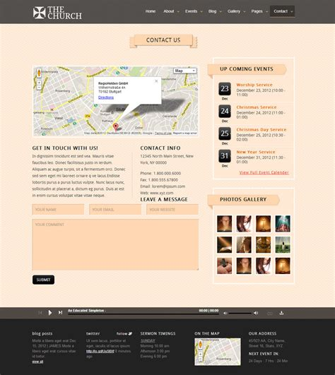 The Church Responsive Site Template By Crunchpress Themeforest Responsive Church Website Templates