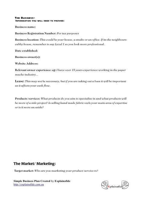 small business plan template doc simple business plan template 6