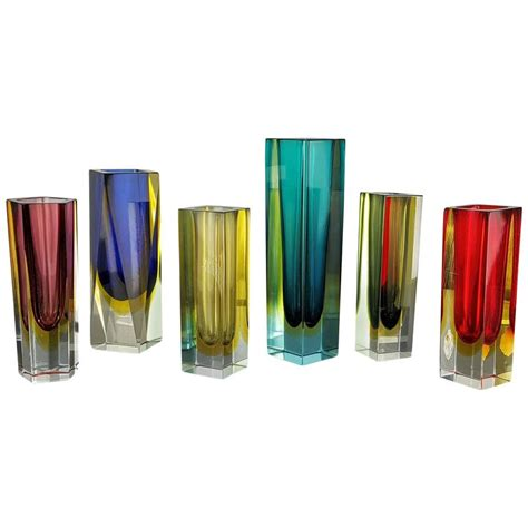 Murano Vases Italy by Grouping Of Colorful Sommerso Murano Vases Italy 1970s