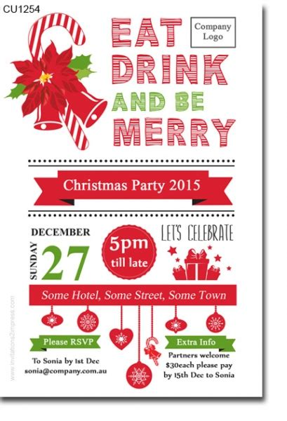 work christmas party invite cu1254 work invitation cards gift tags invitations 2 impress