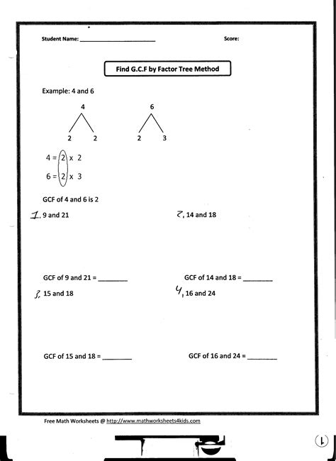Greatest Common Factor Worksheets by Math Homework Mrs Aiello 2012 2013