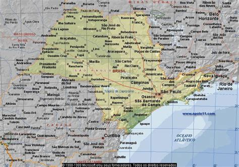 sao paulo state map map of the state of sao paulo brazil mapas