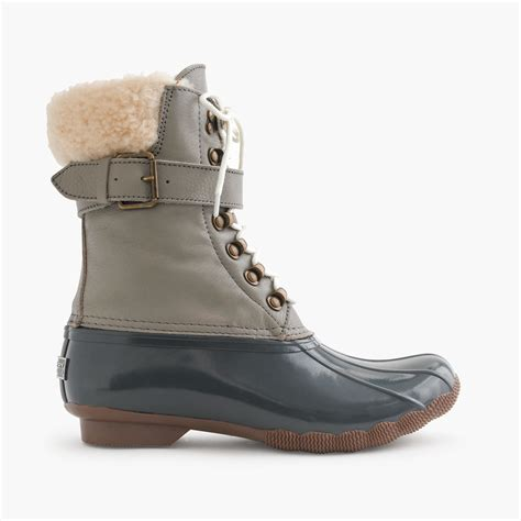 jcrew duck boots j crew sperry shearwater water resistant boots in gray lyst