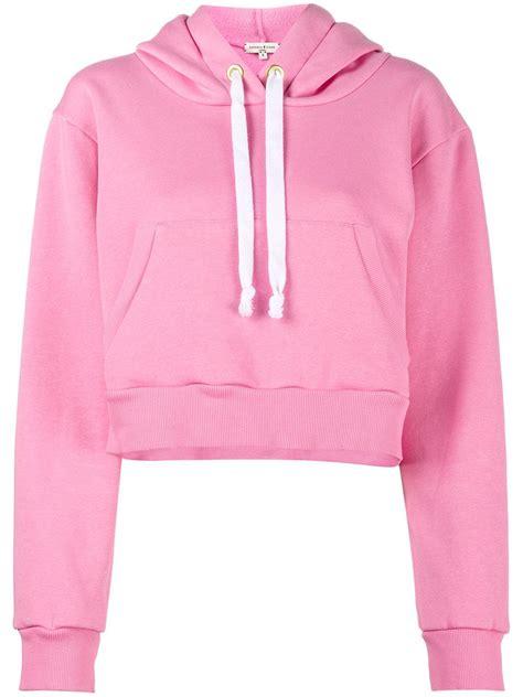 Printed Cropped Hoodie lyst zinko printed cropped hoodie in pink