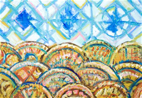 abstract expressionism pattern quot geometric three blue suns and sea waves quot new geometric
