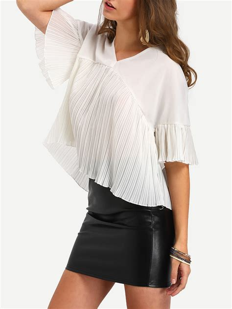 Pleated Sleeve Chiffon Blouse pleated tiered bell sleeve chiffon blouse shein sheinside