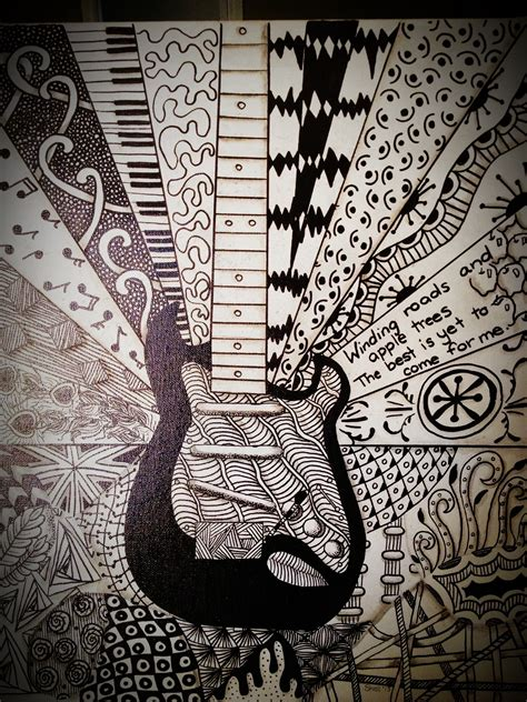 doodle guitar guitar zentangle for jake 16 x 24 inches my