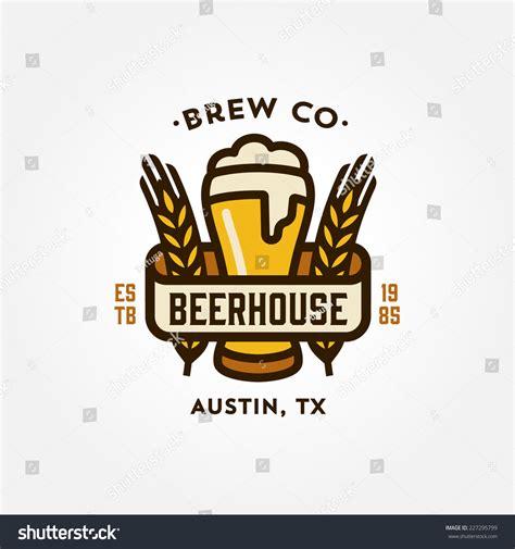 beer house design original vintage retro line art badge logo design template for beer house bar pub