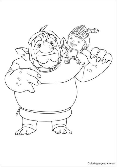 mike the knight with troll coloring page free coloring