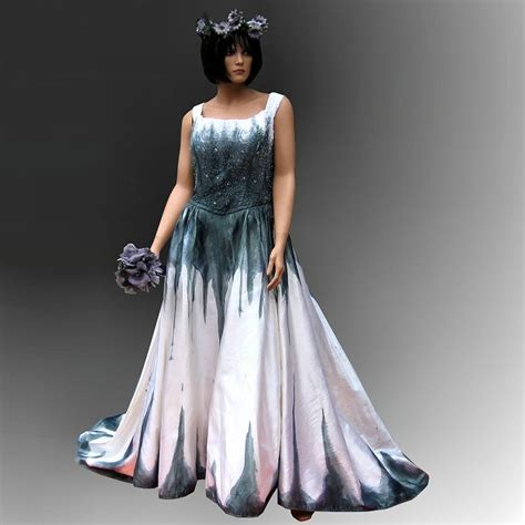 gothic wedding dress with stunning hand painted handmade